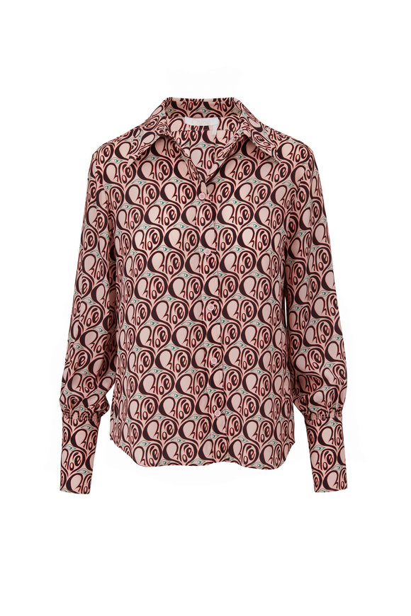 Chloé Powder Pink Chloe Heart Print Silk Blouse