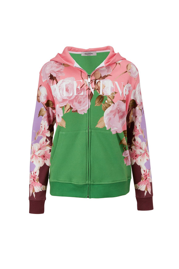 Valentino Multicolor Floral Front Zip Hoodie