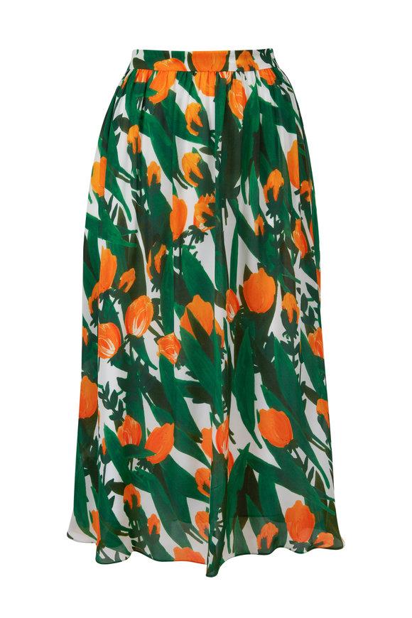 Carolina Herrera White Multi Silk Side Zip Skirt