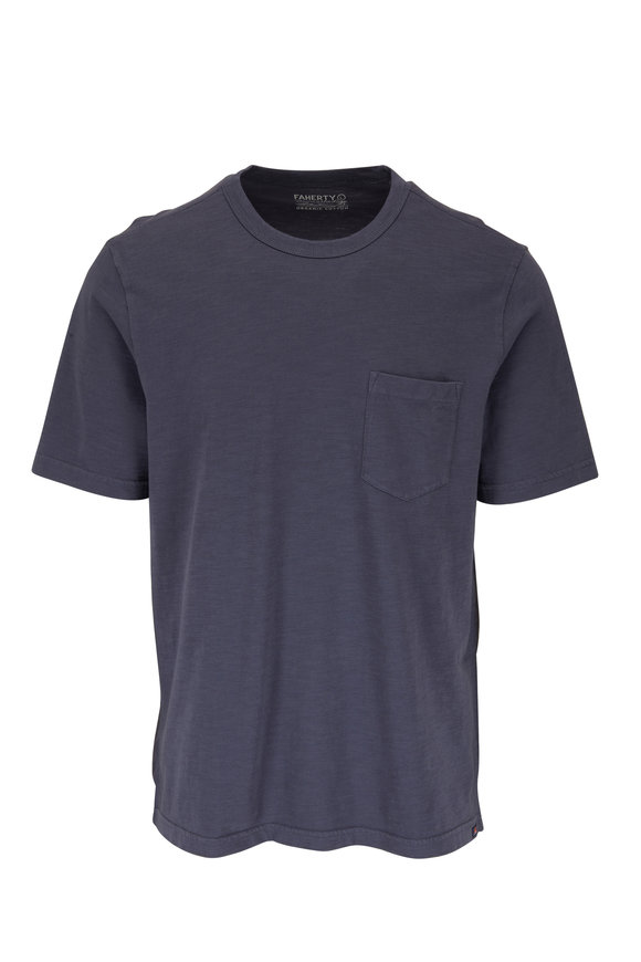 Faherty Brand Navy Sunwashed Pocket T-Shirt