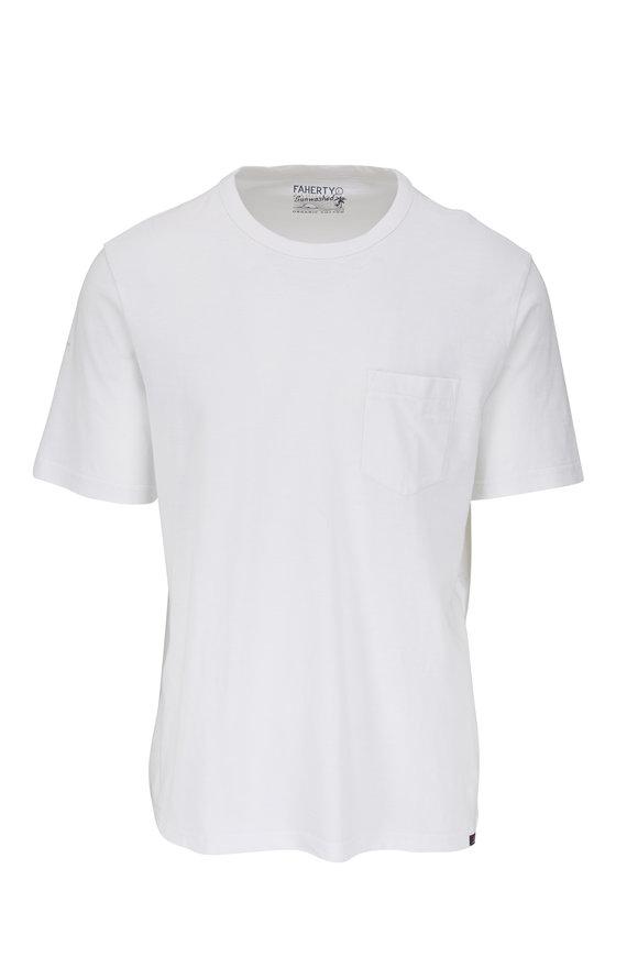 Faherty Brand White Sunwashed Pocket T-Shirt
