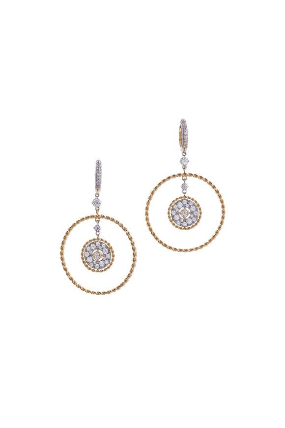 Mariani Yellow Gold Circle In Circle Diamond Earrings