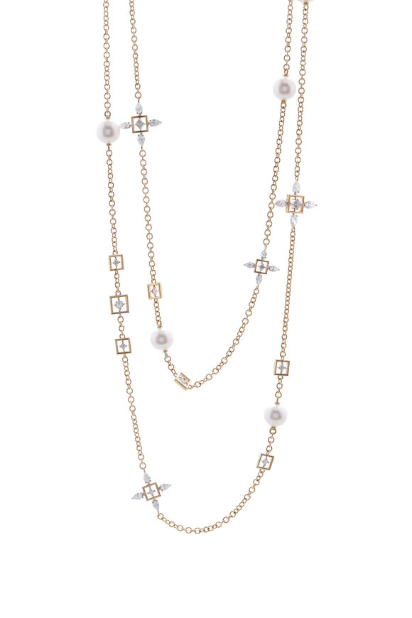 Mariani Yellow Gold Pearl & Diamond Station Chain Necklace