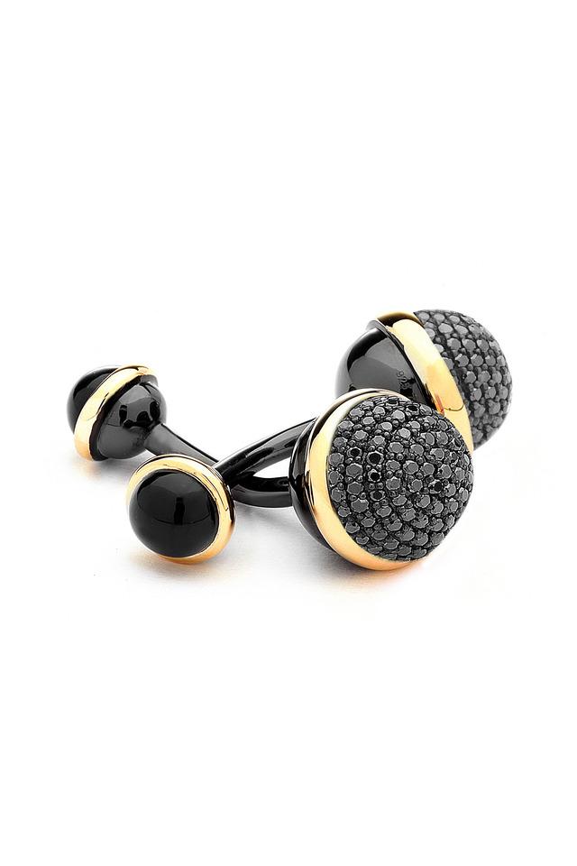Black Onyx & Black Diamond Cuff Links