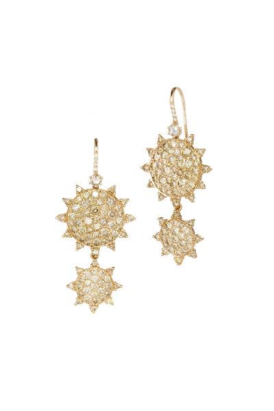 Nam Cho - Pink Gold Champagne Diamond Earrings