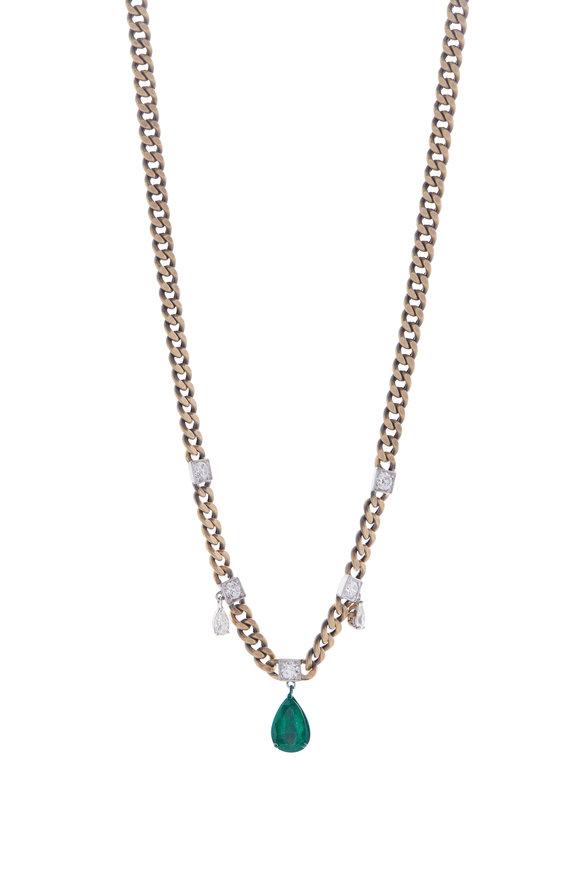 Mariani Yellow Gold Diamond & Emerald Necklace