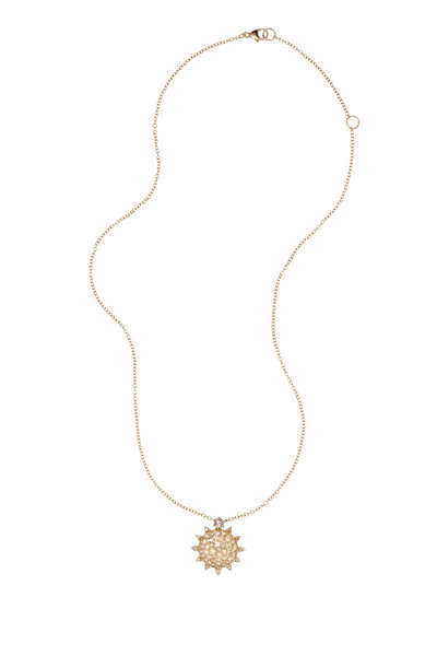 Nam Cho - Pink Gold Champagne Diamond Pendant Necklace