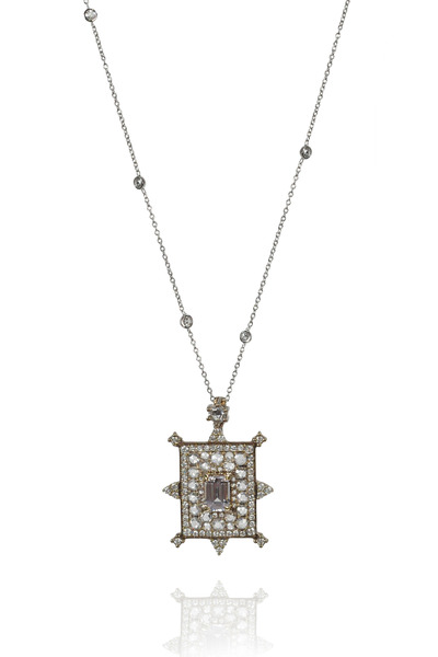 Nam Cho - Rectangular White Sapphire Bullseye Necklace