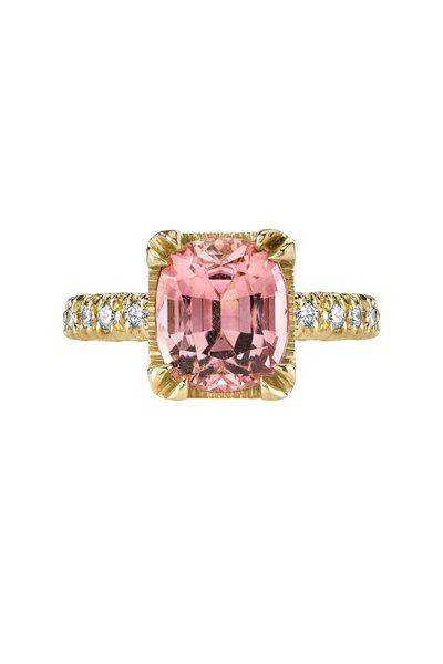 Aaron Henry - Rose Gold Light Pink Tourmaline Diamond Ring