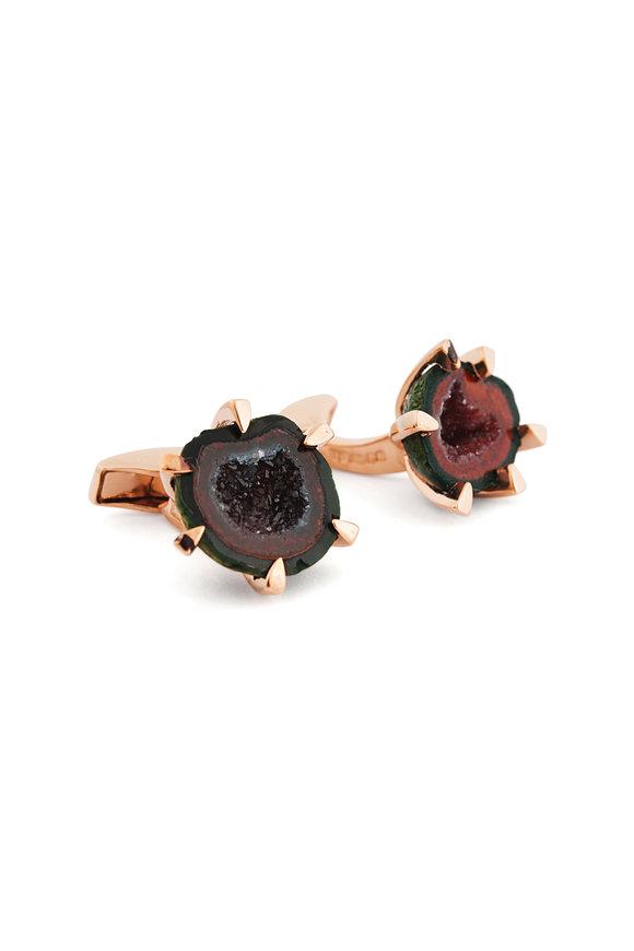 Tateossian Red & Brown Geode Cufflinks