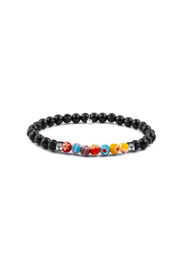 Tateossian Millefiori Black Bead Bracelet