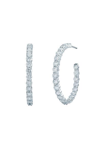 Kwiat - White Gold White Diamond Hoop Earrings