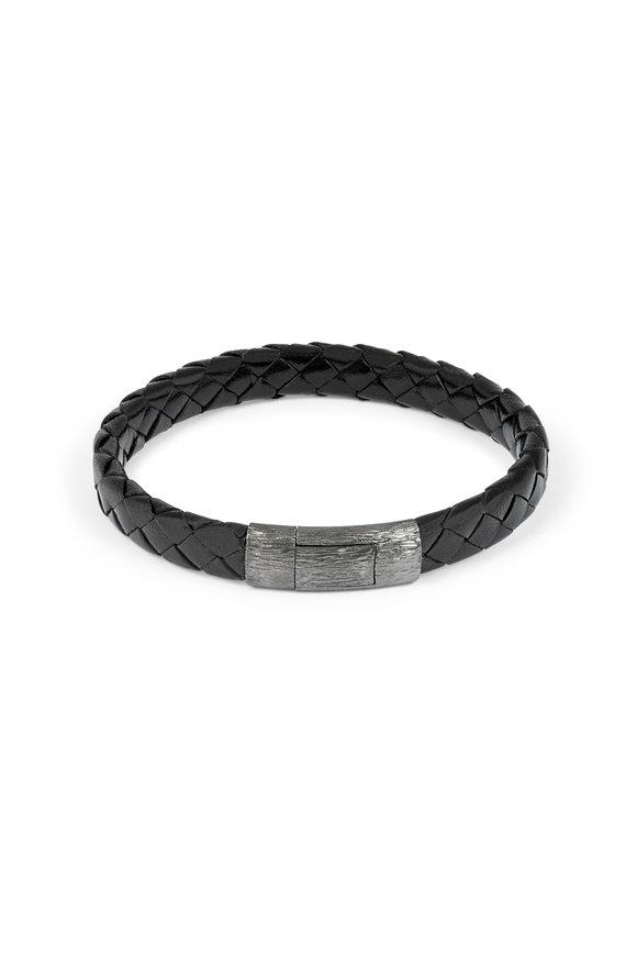 Tateossian Black Braided Leather Bracelet