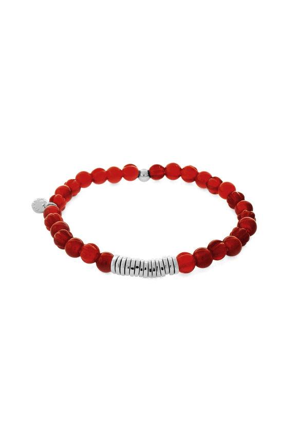 Tateossian Red Carnelian Bead Bracelet