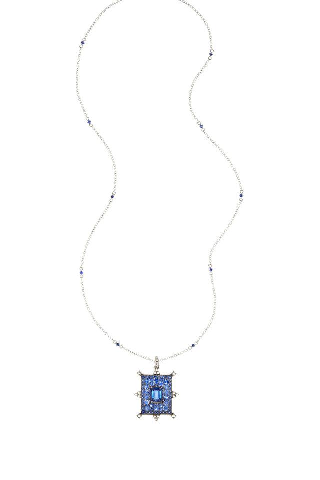 White Gold Kyanite & Sapphire & Diamond Necklace