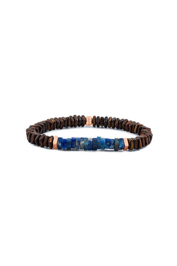 Tateossian Ebony Palm Wood, Lapis & Rose Gold Bracelet