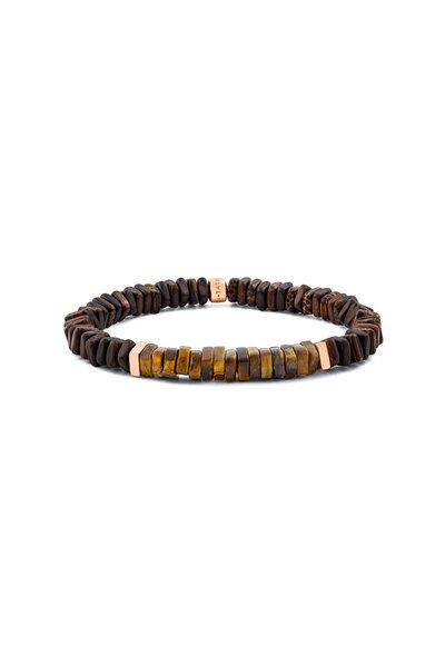 Tateossian - Ebony Palm Wood & Tiger's Eye Bracelet