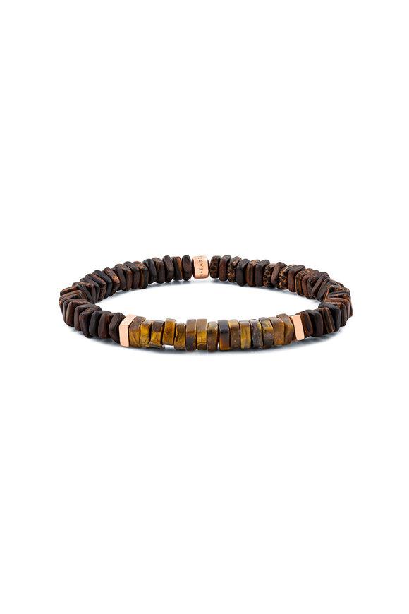 Tateossian Ebony Palm Wood & Tiger's Eye Bracelet