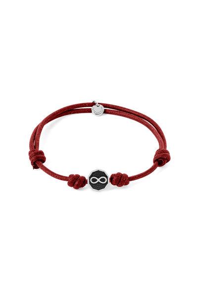 Tateossian - Red Infinity Knot Wax Cord Bracelet