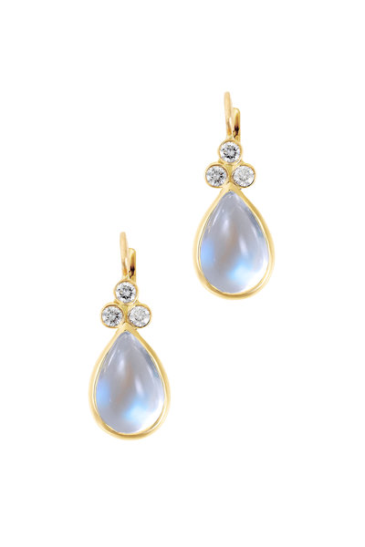 Temple St. Clair - 18K Yellow Gold Moonstone & Diamond Earrings