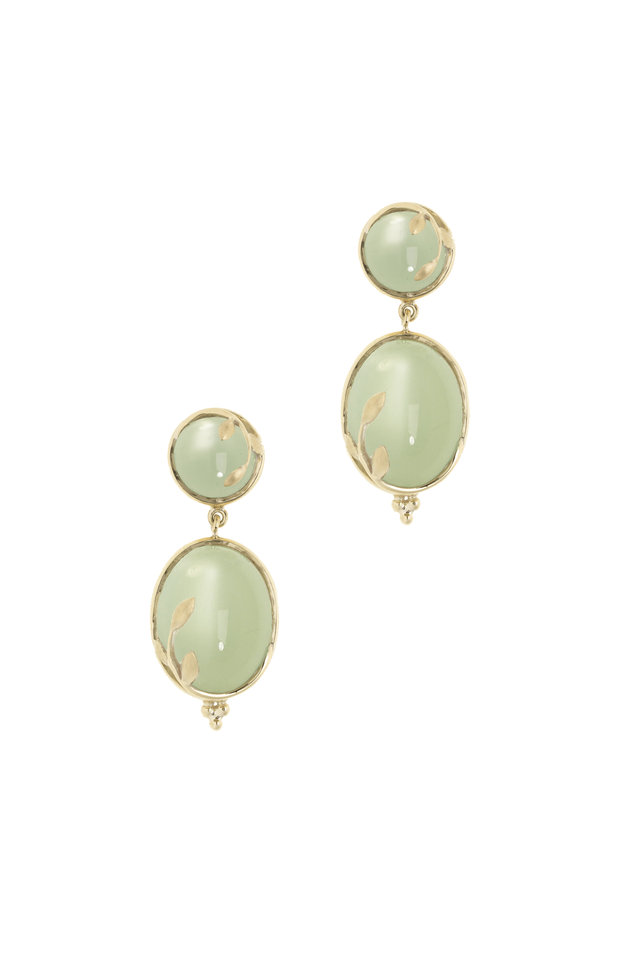 Yellow Gold Green Moonstone Vine Drop Earrings