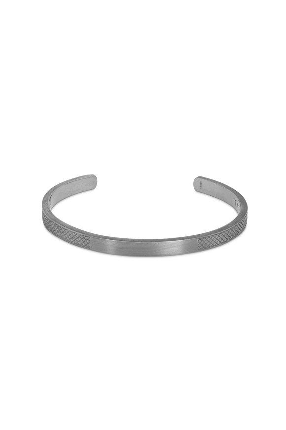 Tateossian Sterling Silver Satin Texture Hallmark Bangle
