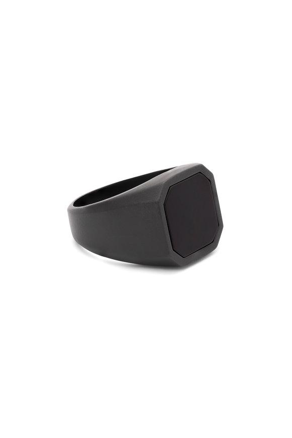Tateossian Matte Ceramic Black Onyx Signet Ring