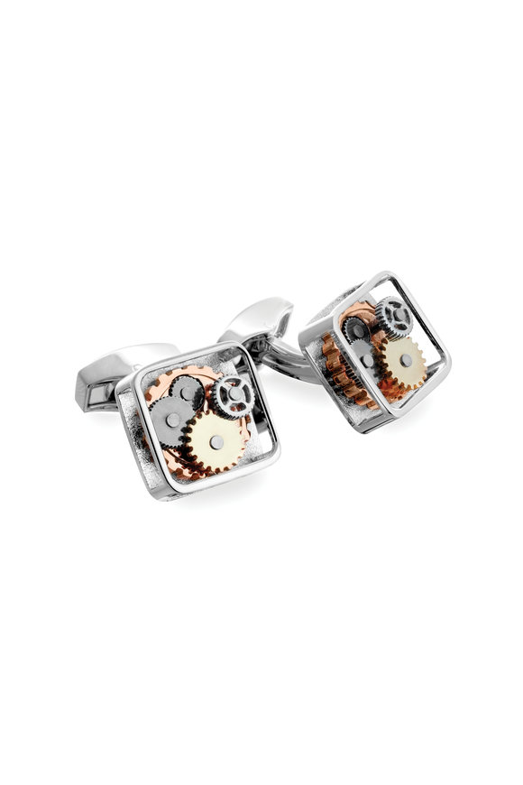 Tateossian Rhodium Silver Square Gear Cufflinks