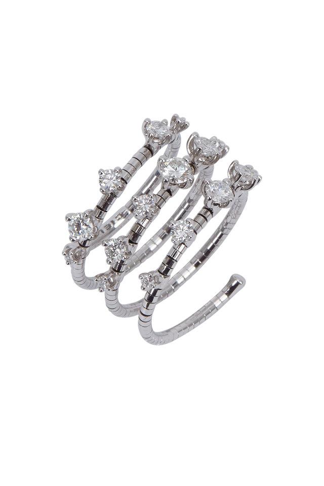 18K White Gold Diamond Rugiada Coil Ring
