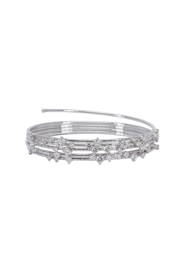 18K White Gold Diamond 5 Coil Bracelet