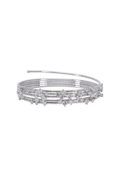 Mattia Cielo - 18K White Gold Diamond 5 Coil Bracelet