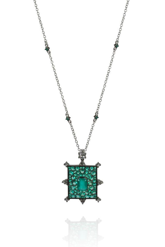 Rectangular Emerald Bullseye Diamond Necklace