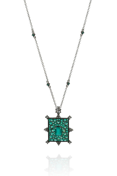 Nam Cho - Rectangular Emerald Bullseye Diamond Necklace