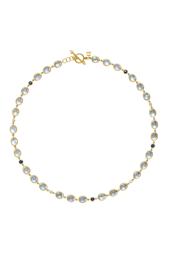 Temple St. Clair Yellow Gold Moonstone & Sapphire Diamond Necklace