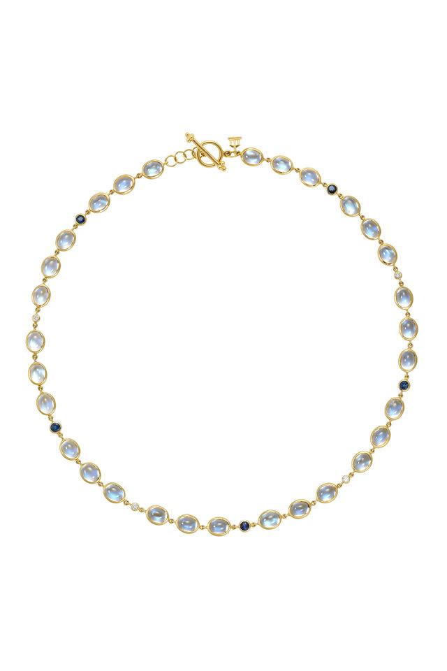 Yellow Gold Moonstone & Sapphire Diamond Necklace