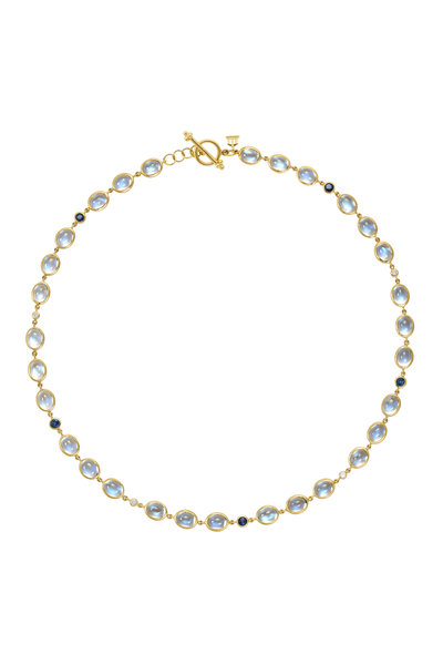 Temple St. Clair - Yellow Gold Moonstone & Sapphire Diamond Necklace