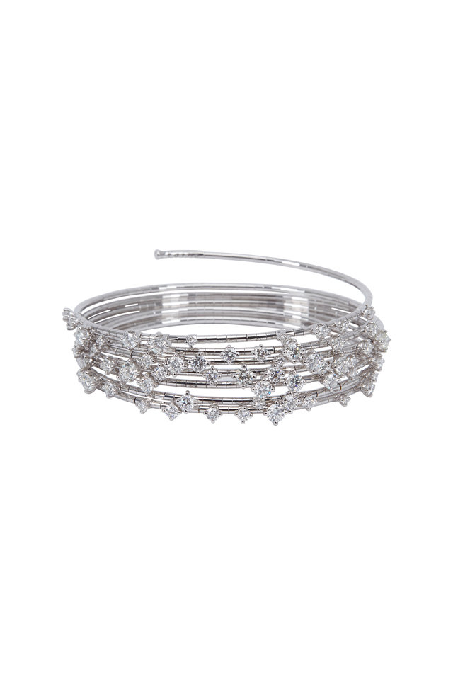 White Gold White Diamond Coil Bracelet