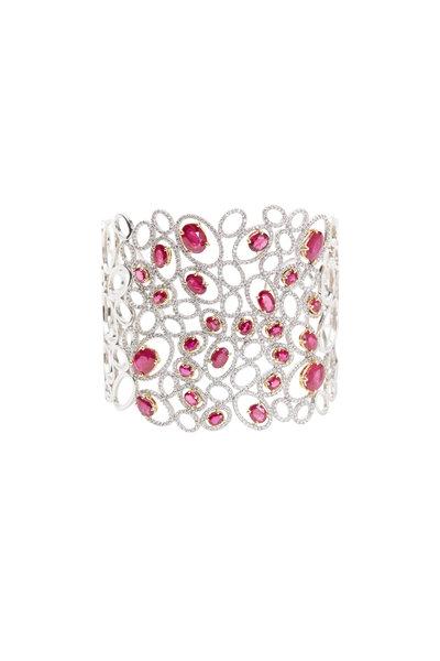 Kathleen Dughi - Gold Red Ruby White Diamond Cuff Bracelet