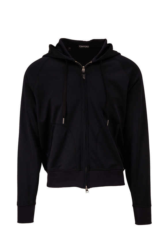 Tom Ford Black Tech Jersey Front Zip Hoodie
