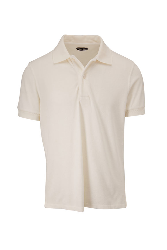 Tom Ford White Terry Short Sleeve Polo