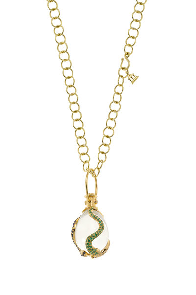 Temple St. Clair - Yellow Gold Crystal Serpent Amulet Pendant