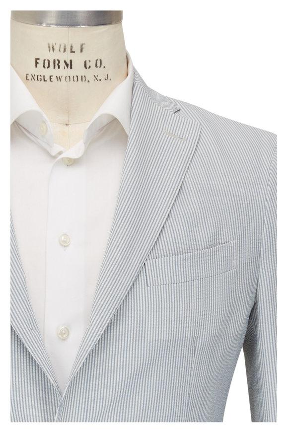 Boglioli Blue & White Seersucker Sportcoat