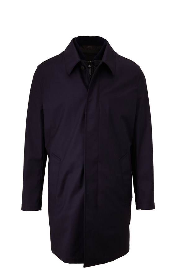 Brioni Navy Wool Raincoat With Removable Nylon Vest