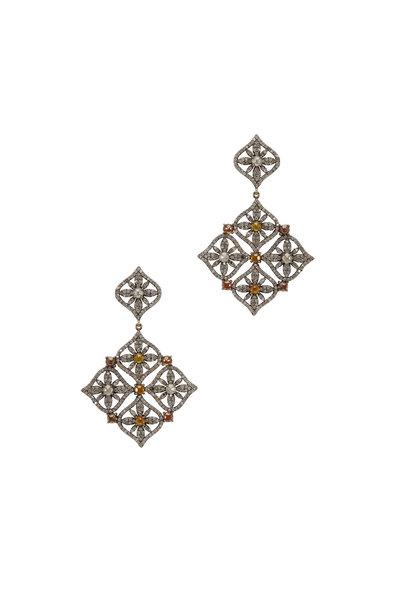 Loriann - Gold White & Cognac Diamond Dangle Earrings