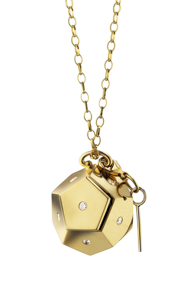18K Yellow Gold Message Box Charm Necklace