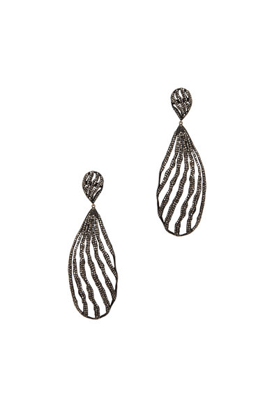 Loriann - Gold Black & White Diamond Dangle Earrings