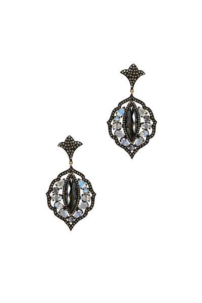 Loriann - Gold Moonstone Diamond Dangle Earrings