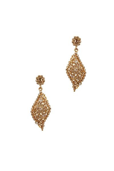 Loriann - Yellow Gold Marquise Shape Diamond Dangle Earrings