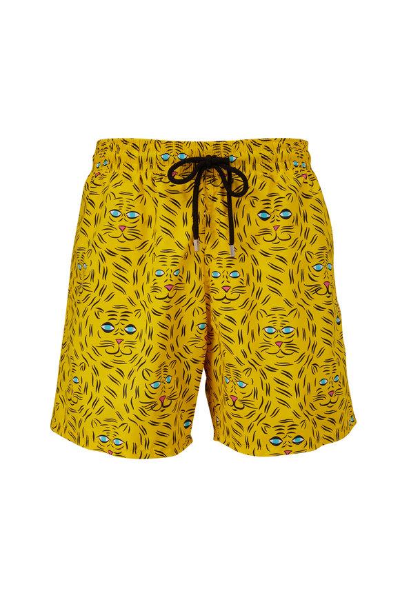 Vilebrequin Moorea Yellow Tigers Print Swim Trunks
