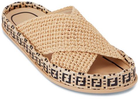 Fendi FF Natural Raffia Criss Cross Slide Sandal